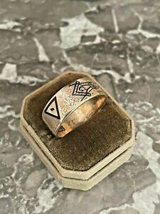 Antique 14K Solid Gold Masons Masonic Mens Enamel Ring Vintage 1917 Sz 10.5-11