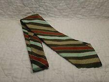 Vintage John Blair Polyester Neck Tie Brown Green Orange Funky Short Wide