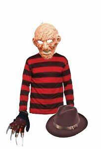 New Freddy Krueger Latex Mask Glove Hat Jumper Halloween Nightmare Fancy Dress