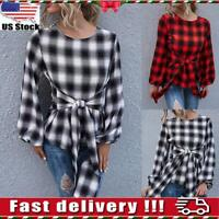 Womens Ladies Plaid Long Sleeve Shirts Tops Blouse Casual Lace Up Pullover Tunic