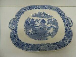 ANTIQUE WEDGWOOD WILLOW BLUE & WHITE PLATE PLATTER