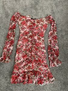 BOOHOO MESH FLORAL OFF THE SHOULDER RUCHED MINI DRESS SIZE 8