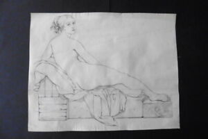 FLEMISH SCHOOL CA. 1800 - STUDY FEMALE NUDE - CHARCOAL BY VAN BREE