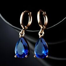 18K Yellow Gold Filled Pear Blue Sapphire Crystal Wedding Dangle Earrings Gift