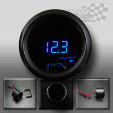 "Volt gauge 12v blue led smoked face universal fit custom car pod 2"" / 52mm"