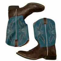 Justin Sz 5 D Square Toe Turquoise & Brown Leather Cowboy Western Boots Youth