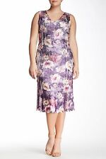 01ae0e1c22d Komarov Woman Purple Floral Print Lace Trim Sleeveless V-neck Dress 3x