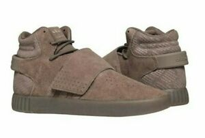 ADIDAS Men's TUBULAR INVADER STRAP (CG5068) Brown SUEDE ATHLETIC SHOES - 10.5
