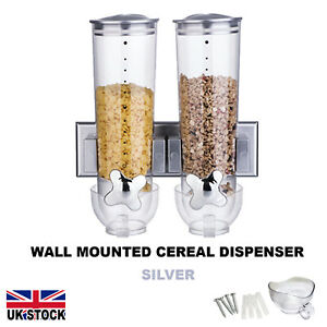 Silver Wall Mounted Double Dry Food Cereal Dispenser Storage Container