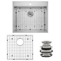 "25"" x 22"" x 9"" Stainless Steel Top Mount Single Kitchen Sink Dish Grid Drain Set"