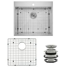 "25"" x 22"" x 9"" Stainless Steel Top Mount Single Kitchen Sink Dish Grid Drain Set"