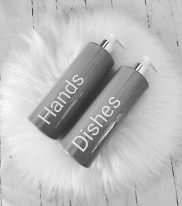 Personalised Hinch inspired refillable 500ml Pump bottles Pink Grey White Black