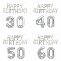 SILVER HELIUM HAPPY BIRTHDAY BALLOON SET NUMBER AGE PARTY DECOR BUNTING BANNER