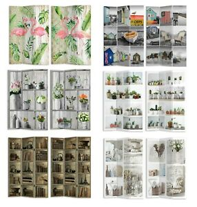 Large 3 Panels Canvas Room Divider Screen Foldable Double Sides Divider 180CM