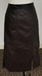 Jigsaw Leather Split Midi Skirt Dark Chocolate Size 12 RRP £220.00