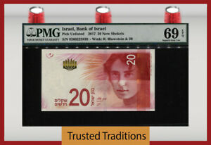 TT PK 65a 2017 ISRAEL BANK OF ISRAEL 20 NEW SHEKELS PMG 69 EPQ SUPERB GEM UNC!