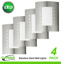 4 x LED Stainless Steel 316 Bunker Wall Lights 6W Rectangular Outdoor Exterior