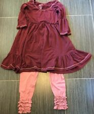 Matilda Jane Gypsy Blue Maroon Charlie Peasant Dress & VHTF Mavey Leggings, S