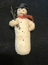 Vintage German Cotton Snowman Christmas Antique Ornament Cigar & Top Hat