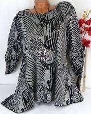Tunika Bluse Kleid Lagenlook Longshirt A-Form Schlitz Longshirt  Turn Up  44 46