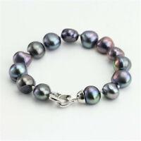 8-9mm Black Baroque Pearl Bracelet 7.5inch Silver Buckle Accessories Aurora