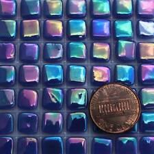 8mm Mosaic Glass Tiles - 2 Ounces About 87 Tiles - Iridescent Ultramarine Blue