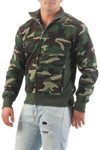 Herren Camouflage Sweatjacke Sweat Zip Jacke Outdoor Pullover Zipper ohne Kapuze