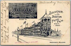 "Vintage 1906 Boston Massachusetts Postcard ""Souvenir BOSTON FOOD FAIR"" w/ Cancel"