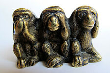 Three Wise Monkeys Figurine Peerage Brass See Hear Speak No Evil England