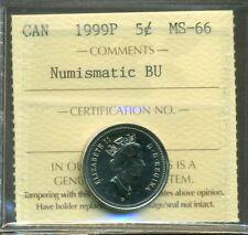 RARE 1999P 5 cent CANADA NICKEL TEST TOKEN, SCARCE, ICCS Certified MS-66 NBU