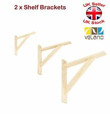 2 x Wooden Shelf Supports Reinforced Brackets Beech or Pine 3 Sizes