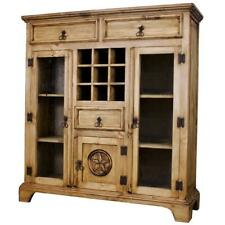 Pine Wood Antique Wall Bar Cabinet Liquor Storage in Rustic Vintage Furniture