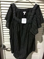 Ingrid & Isabel Womens Maternity Plus Size Vertical Striped Woven Top 3X New