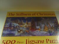 """JIGSAW PUZZLE """"THE STILLNESS OF CHRISTMAS"""" 500 PIECES 12"""" X 36"""" N BOEHME SNOW"""