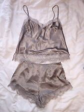 Victoria Secret Pink Pajama Set Silk Satin Negligee Cami Slip Tank Shorts