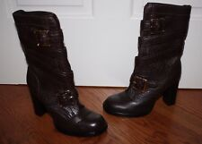 Rare Womens $575 Tory Burch Jaden Brown Buckle Leather Boots Size 6