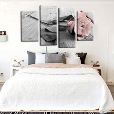 Pink Grey White Love Rose Floral Canvas Wall Art Picture Prints Decor 4Pcs M8C