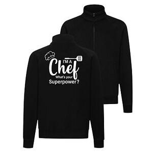 Fun Sweat Jacke Chef Superpower Grillen Koch Gourmet Essen BBQ Chefkoch