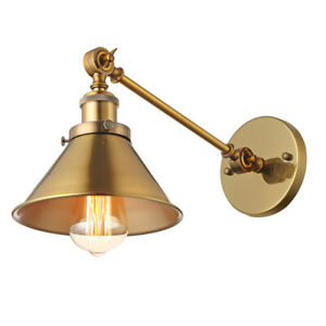 Vintage Brushed Brass Wall Sconce Antique Style Porch Wall Lamp Fixture Metal