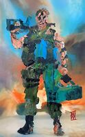 ORIGINAL Abstract Arnold Schwarzenegger Commando 80s Action Movie Art Painting