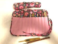 Handmade Quilted Pink Flowers & Hearts w Gray cotton fabric crochet hook holder