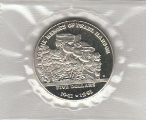 Coin - Heroes of Pearl Harbor - G/F $5 - BU - 1991 - Informational Folder