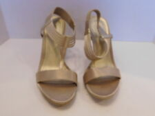 KENNETH COLE GOLD SATIN & LEATHER OPEN TOED SLINGBACK HEELS SIZE 7.5 M