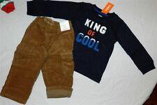 Pant Set Gymboree Brown Cargo 2pc Navy Tshirt Fall Winter Boy size 18-24 mo New