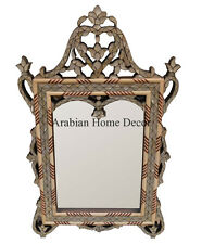 Handcrafted Moroccan Mother of Pearl Inlaid Wood Wall Mirror Frame - Home Decor