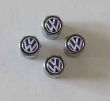 VW Plata Cromo Logotipo Azul Coche Neumático Aleación Rueda Válvula Polvo gorras x4 Golf Polo Dub