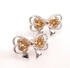 Girl Women Stud Earrings Champagne Big Bow CZ Cubic Zirconia White Gold Plated