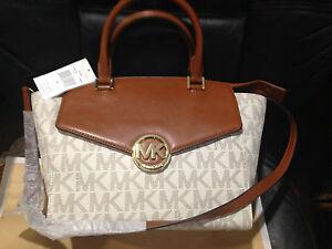 Michael Kors MK Signature 100%Authentic Women's Large Satchel handbag purse $398