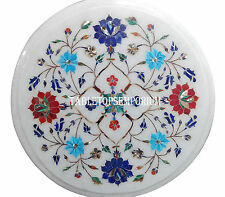 """12"""" White Marble Round Coffee Table Top Mosaic Multi Stone Floral Decor Art Gift"""