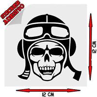 Sticker Adesivo Prespaziato Decal Skull Teschio Pilota Aereo Auto Scooter Moto